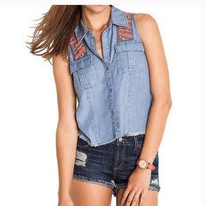 Guess Mia sleeveless sequin denim shirt